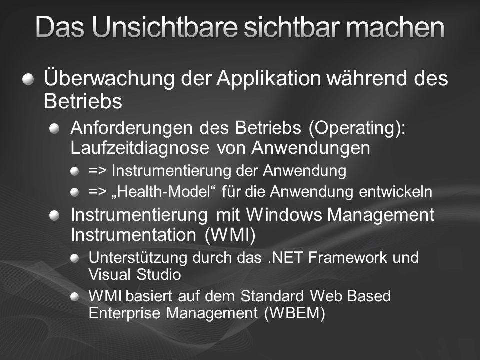 Überwachung der Applikation während des Betriebs Anforderungen des Betriebs (Operating): Laufzeitdiagnose von Anwendungen => Instrumentierung der Anwendung => Health-Model für die Anwendung entwickeln Instrumentierung mit Windows Management Instrumentation (WMI) Unterstützung durch das.NET Framework und Visual Studio WMI basiert auf dem Standard Web Based Enterprise Management (WBEM)
