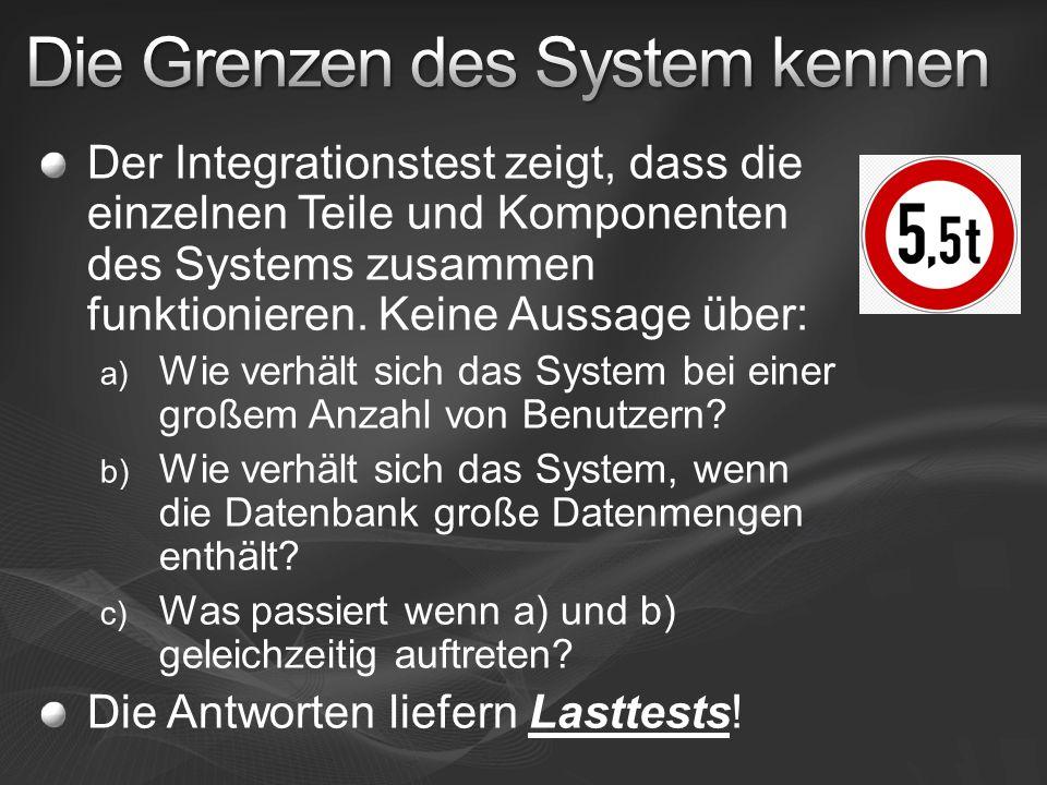 Der Integrationstest zeigt, dass die einzelnen Teile und Komponenten des Systems zusammen funktionieren. Keine Aussage über: a) Wie verhält sich das S