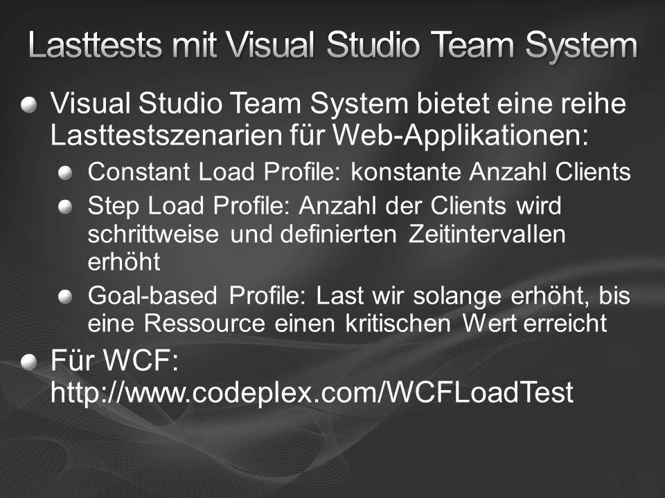 Visual Studio Team System bietet eine reihe Lasttestszenarien für Web-Applikationen: Constant Load Profile: konstante Anzahl Clients Step Load Profile: Anzahl der Clients wird schrittweise und definierten Zeitintervallen erhöht Goal-based Profile: Last wir solange erhöht, bis eine Ressource einen kritischen Wert erreicht Für WCF: http://www.codeplex.com/WCFLoadTest