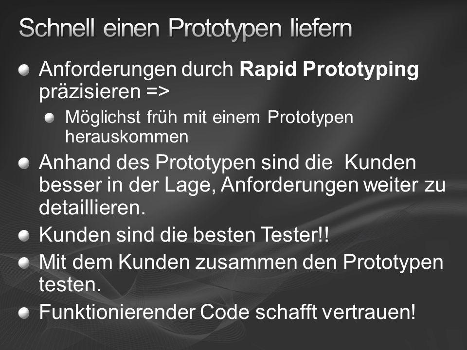 Anforderungen durch Rapid Prototyping präzisieren => Möglichst früh mit einem Prototypen herauskommen Anhand des Prototypen sind die Kunden besser in der Lage, Anforderungen weiter zu detaillieren.