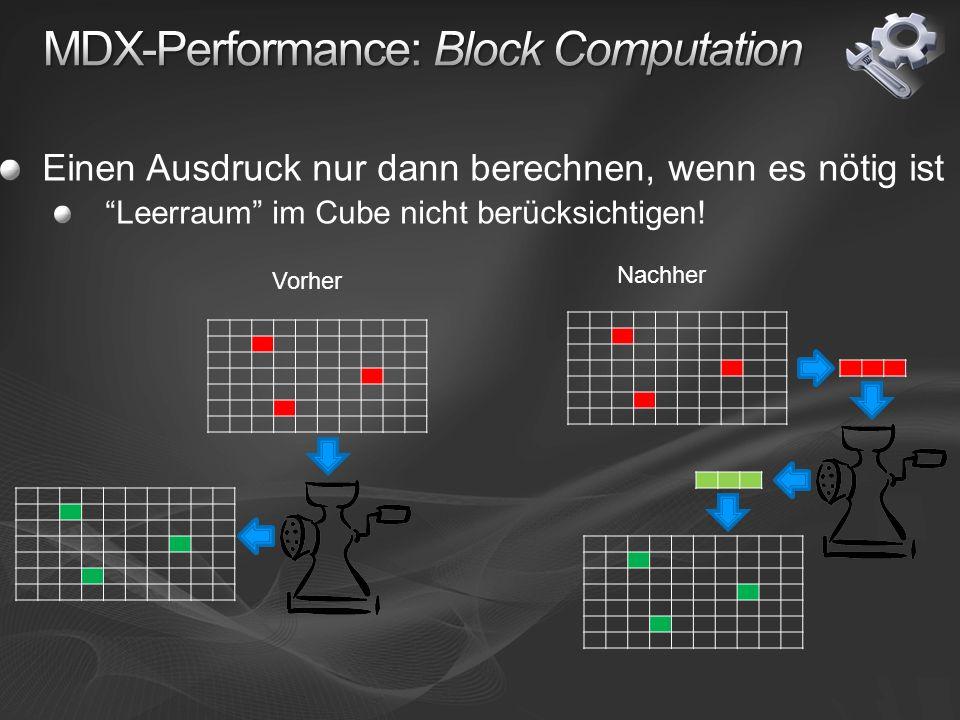 Einen Ausdruck nur dann berechnen, wenn es nötig ist Leerraum im Cube nicht berücksichtigen.