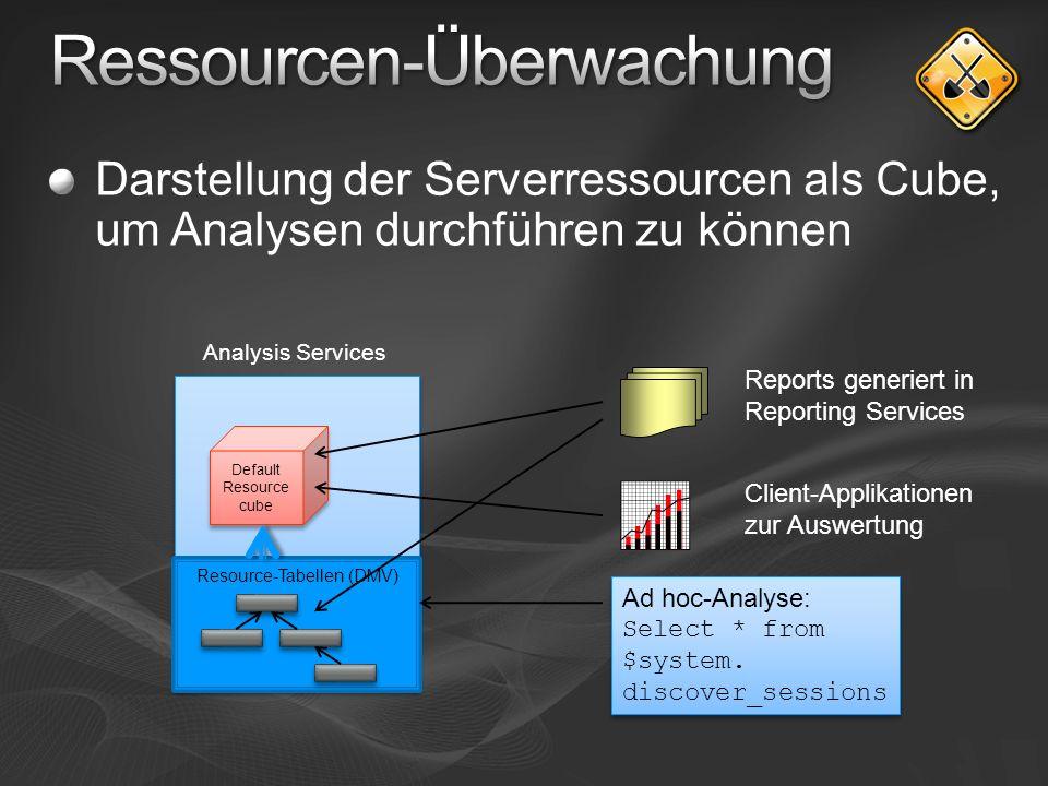 Darstellung der Serverressourcen als Cube, um Analysen durchführen zu können Default Resource cube Resource-Tabellen (DMV) Ad hoc-Analyse: Select * from $system.