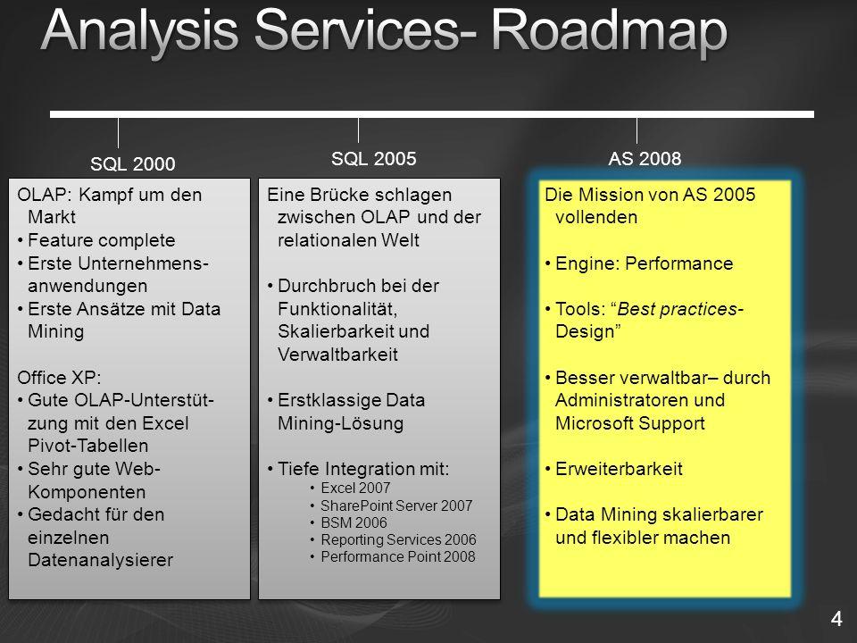 4 SQL 2005 SQL 2000 OLAP: Kampf um den Markt Feature complete Erste Unternehmens- anwendungen Erste Ansätze mit Data Mining Office XP: Gute OLAP-Unterstüt- zung mit den Excel Pivot-Tabellen Sehr gute Web- Komponenten Gedacht für den einzelnen Datenanalysierer OLAP: Kampf um den Markt Feature complete Erste Unternehmens- anwendungen Erste Ansätze mit Data Mining Office XP: Gute OLAP-Unterstüt- zung mit den Excel Pivot-Tabellen Sehr gute Web- Komponenten Gedacht für den einzelnen Datenanalysierer Eine Brücke schlagen zwischen OLAP und der relationalen Welt Durchbruch bei der Funktionalität, Skalierbarkeit und Verwaltbarkeit Erstklassige Data Mining-Lösung Tiefe Integration mit: Excel 2007 SharePoint Server 2007 BSM 2006 Reporting Services 2006 Performance Point 2008 Eine Brücke schlagen zwischen OLAP und der relationalen Welt Durchbruch bei der Funktionalität, Skalierbarkeit und Verwaltbarkeit Erstklassige Data Mining-Lösung Tiefe Integration mit: Excel 2007 SharePoint Server 2007 BSM 2006 Reporting Services 2006 Performance Point 2008 AS 2008 Die Mission von AS 2005 vollenden Engine: Performance Tools: Best practices- Design Besser verwaltbar– durch Administratoren und Microsoft Support Erweiterbarkeit Data Mining skalierbarer und flexibler machen Die Mission von AS 2005 vollenden Engine: Performance Tools: Best practices- Design Besser verwaltbar– durch Administratoren und Microsoft Support Erweiterbarkeit Data Mining skalierbarer und flexibler machen