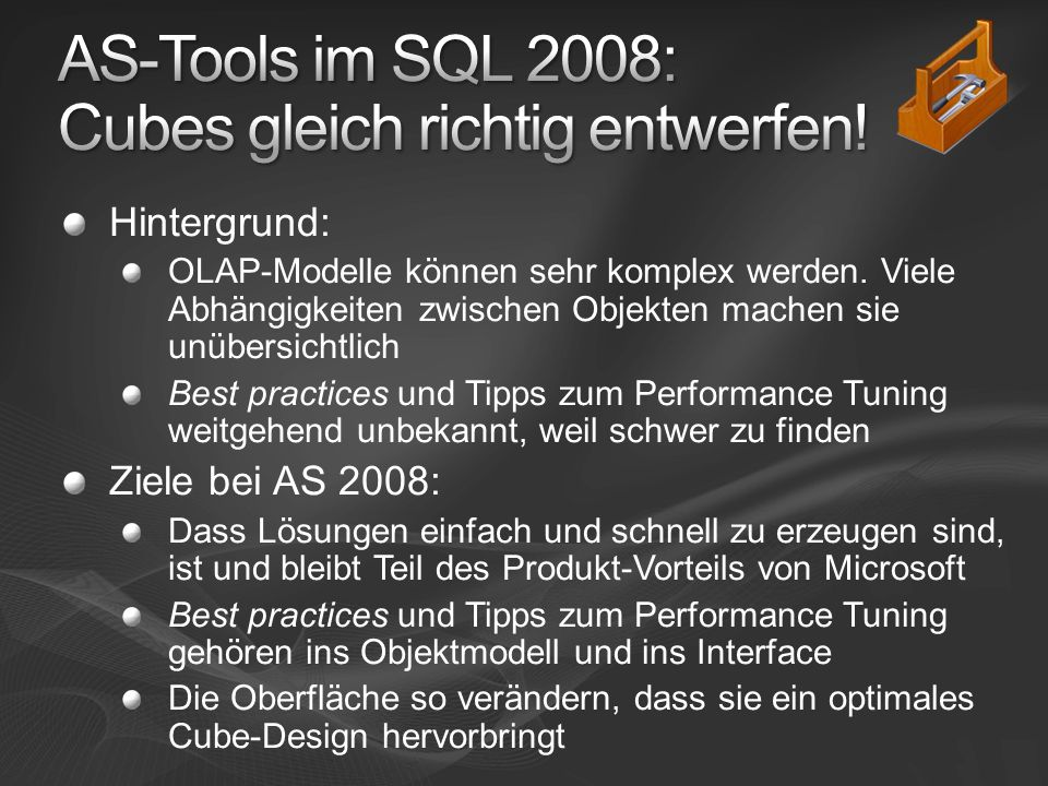 Hintergrund: OLAP-Modelle können sehr komplex werden.