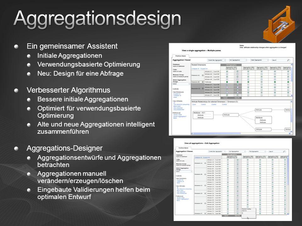 Ein gemeinsamer Assistent Initiale Aggregationen Verwendungsbasierte Optimierung Neu: Design für eine Abfrage Verbesserter Algorithmus Bessere initiale Aggregationen Optimiert für verwendungsbasierte Optimierung Alte und neue Aggregationen intelligent zusammenführen Aggregations-Designer Aggregationsentwürfe und Aggregationen betrachten Aggregationen manuell verändern/erzeugen/löschen Eingebaute Validierungen helfen beim optimalen Entwurf