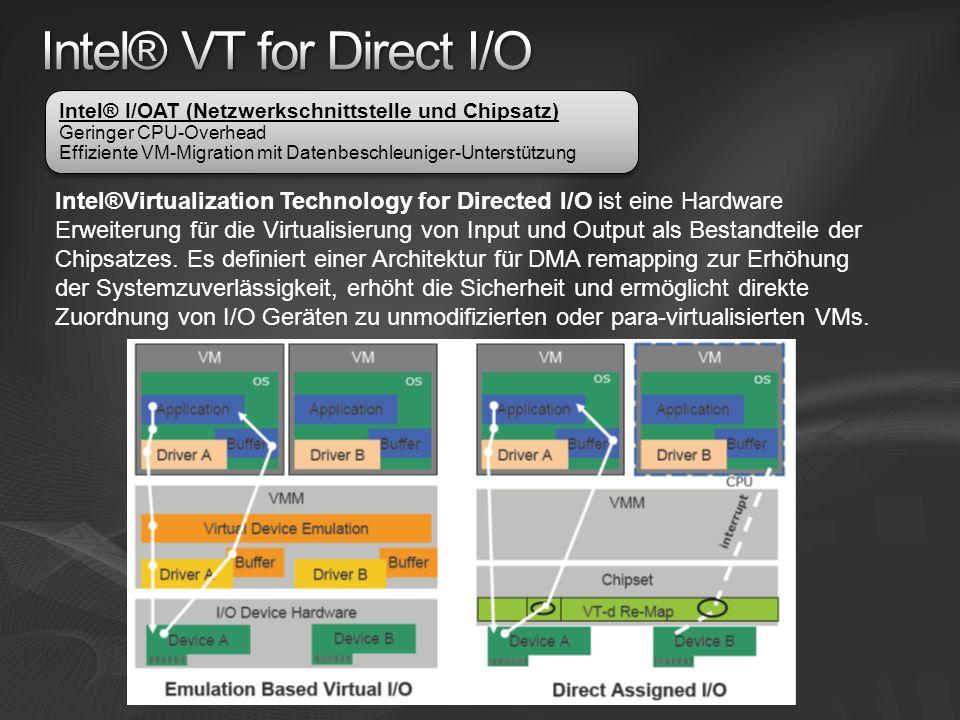 Intel®Virtualization Technology for Directed I/O ist eine Hardware Erweiterung für die Virtualisierung von Input und Output als Bestandteile der Chipsatzes.