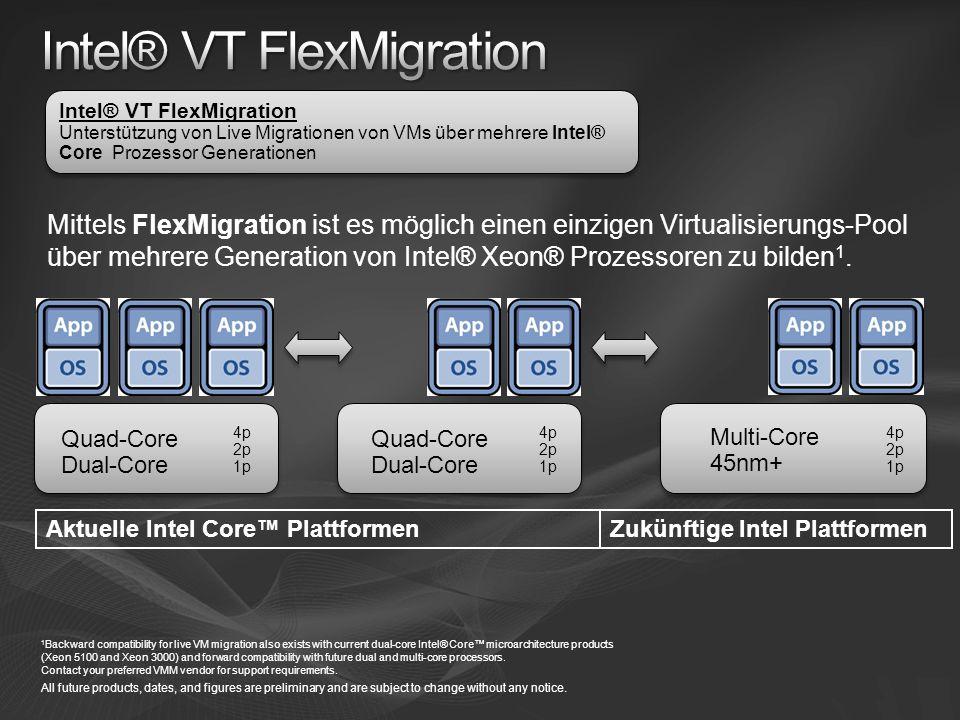 Mittels FlexMigration ist es möglich einen einzigen Virtualisierungs-Pool über mehrere Generation von Intel® Xeon® Prozessoren zu bilden 1.
