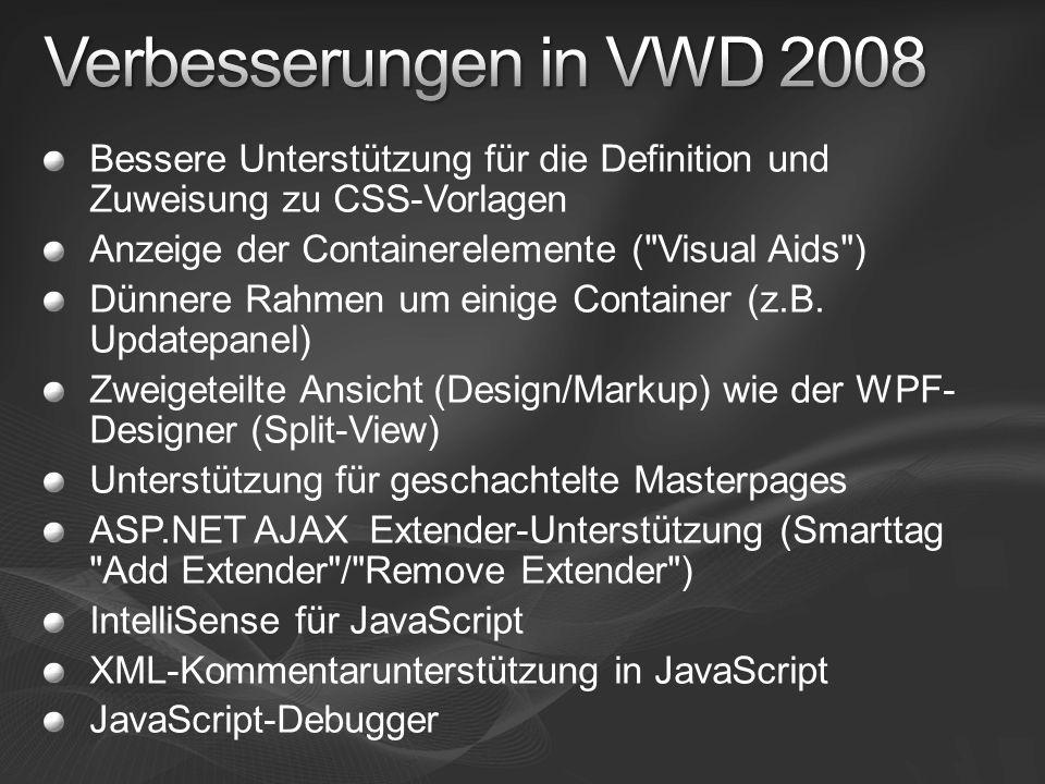 Bessere Unterstützung für die Definition und Zuweisung zu CSS-Vorlagen Anzeige der Containerelemente (
