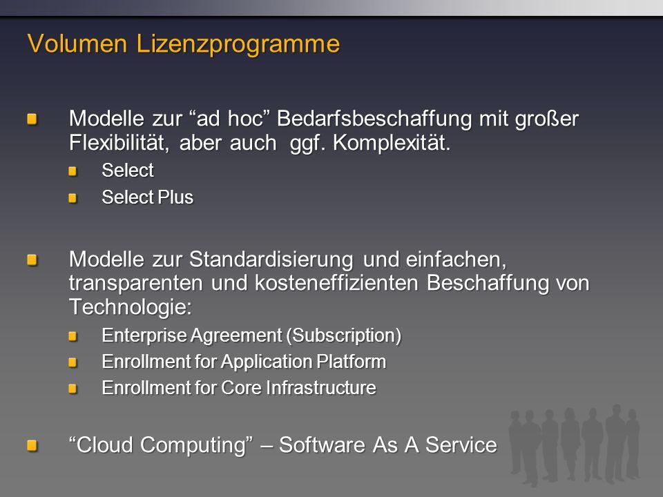 Modelle zur ad hoc Bedarfsbeschaffung mit großer Flexibilität, aber auch ggf.