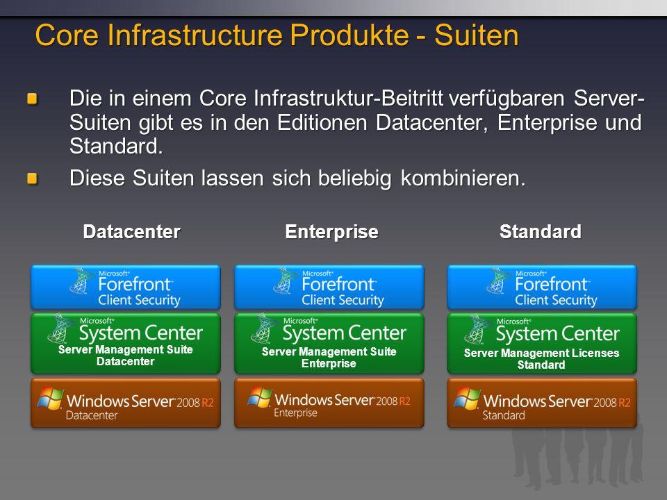 Die in einem Core Infrastruktur-Beitritt verfügbaren Server- Suiten gibt es in den Editionen Datacenter, Enterprise und Standard.