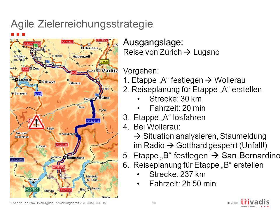 © 2008 Theorie und Praxis von agilen Entwicklungen mit VSTS und SCRUM10 Agile Zielerreichungsstrategie Ausgangslage: Reise von Zürich Lugano Vorgehen: