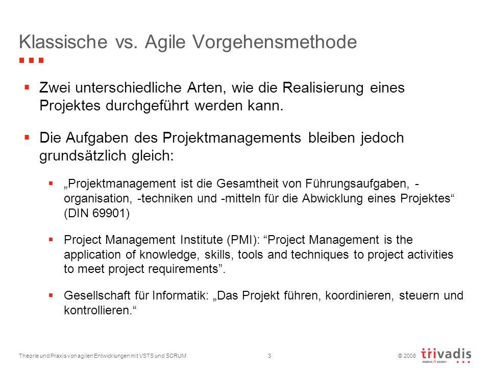 © 2008 Theorie und Praxis von agilen Entwicklungen mit VSTS und SCRUM3 Klassische vs. Agile Vorgehensmethode Zwei unterschiedliche Arten, wie die Real