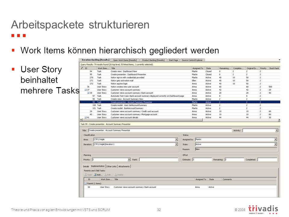 © 2008 Arbeitspackete strukturieren Theorie und Praxis von agilen Entwicklungen mit VSTS und SCRUM32 Work Items können hierarchisch gegliedert werden