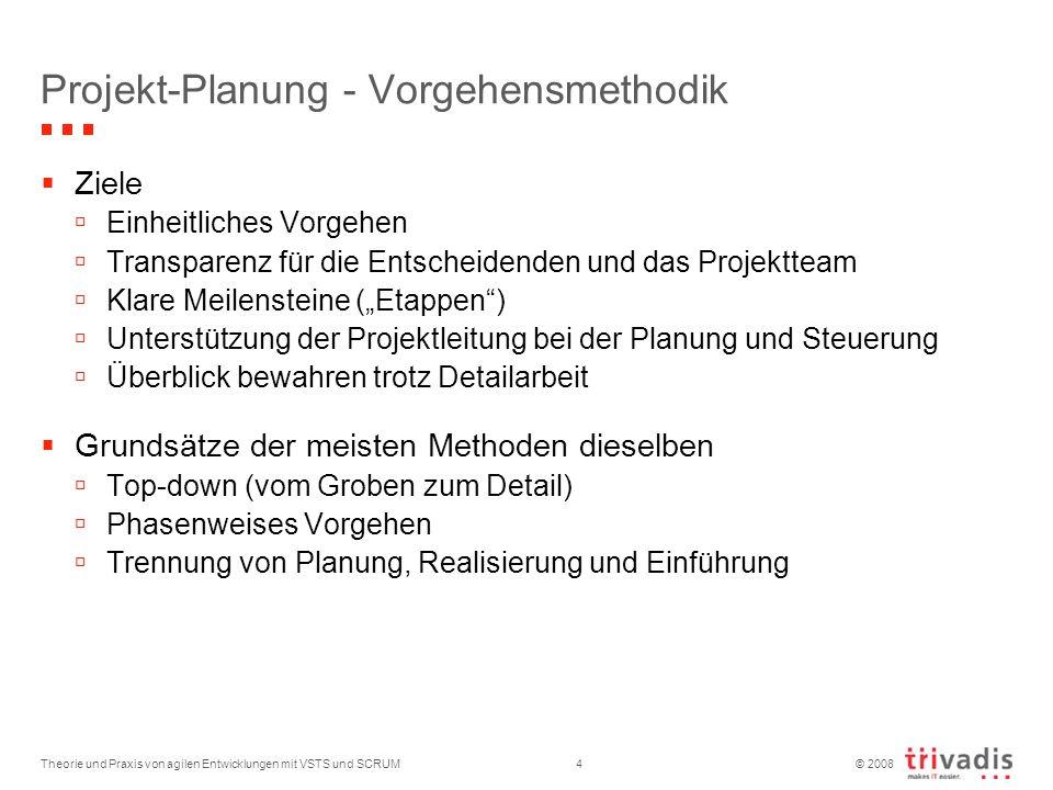 © 2008 Projekt-Planung - Vorgehensmethodik Ziele Einheitliches Vorgehen Transparenz für die Entscheidenden und das Projektteam Klare Meilensteine (Eta