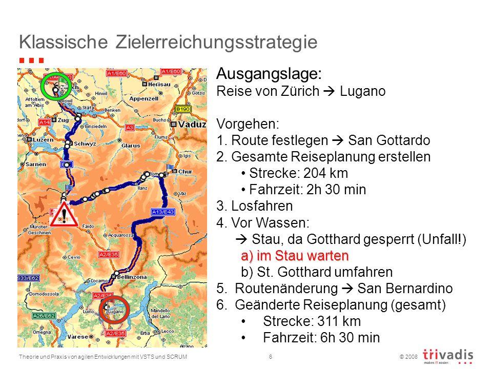 © 2008 Theorie und Praxis von agilen Entwicklungen mit VSTS und SCRUM6 Klassische Zielerreichungsstrategie Ausgangslage: Reise von Zürich Lugano Vorge