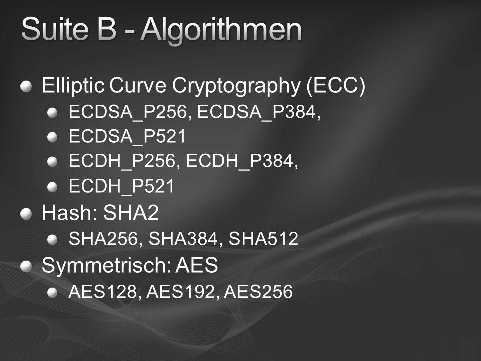 Elliptic Curve Cryptography (ECC) ECDSA_P256, ECDSA_P384, ECDSA_P521 ECDH_P256, ECDH_P384, ECDH_P521 Hash: SHA2 SHA256, SHA384, SHA512 Symmetrisch: AE