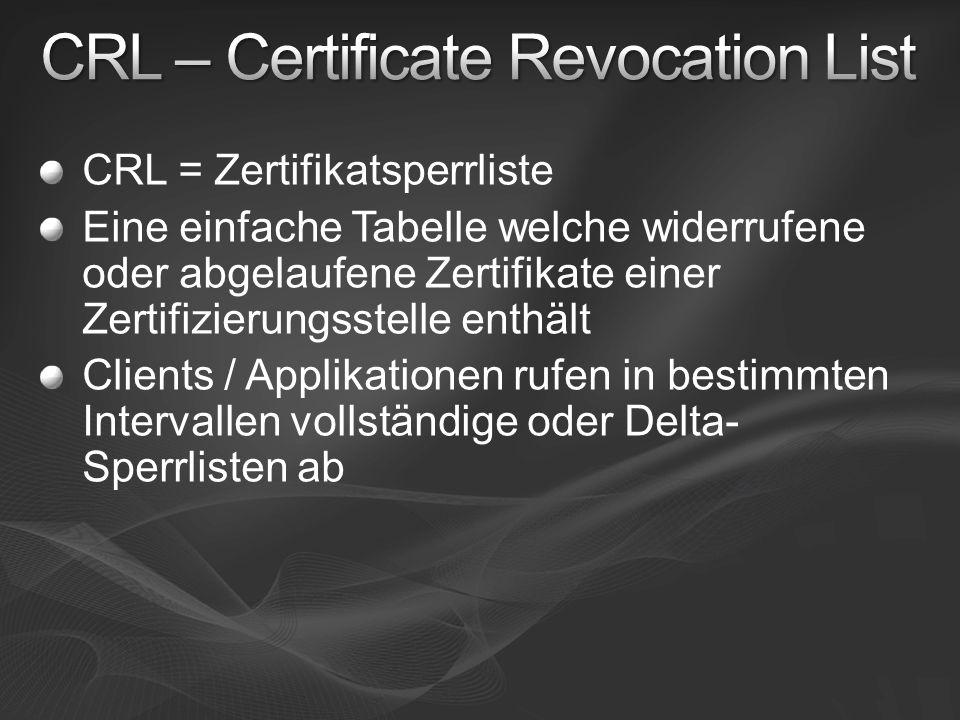 CRL = Zertifikatsperrliste Eine einfache Tabelle welche widerrufene oder abgelaufene Zertifikate einer Zertifizierungsstelle enthält Clients / Applika