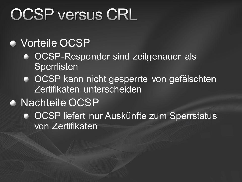 Vorteile OCSP OCSP-Responder sind zeitgenauer als Sperrlisten OCSP kann nicht gesperrte von gefälschten Zertifikaten unterscheiden Nachteile OCSP OCSP