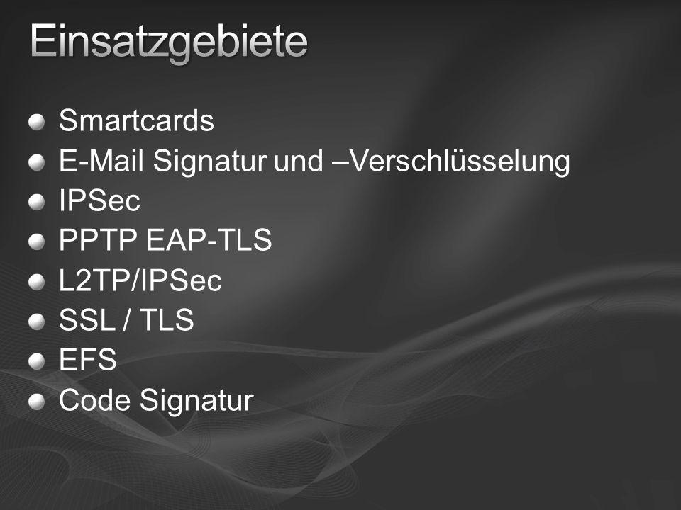 Smartcards E-Mail Signatur und –Verschlüsselung IPSec PPTP EAP-TLS L2TP/IPSec SSL / TLS EFS Code Signatur