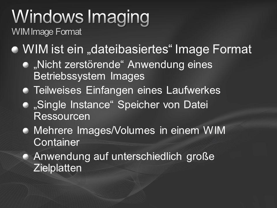 WIM ist ein dateibasiertes Image Format Nicht zerstörende Anwendung eines Betriebssystem Images Teilweises Einfangen eines Laufwerkes Single Instance