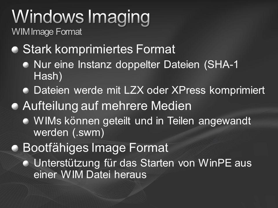 Stark komprimiertes Format Nur eine Instanz doppelter Dateien (SHA-1 Hash) Dateien werde mit LZX oder XPress komprimiert Aufteilung auf mehrere Medien