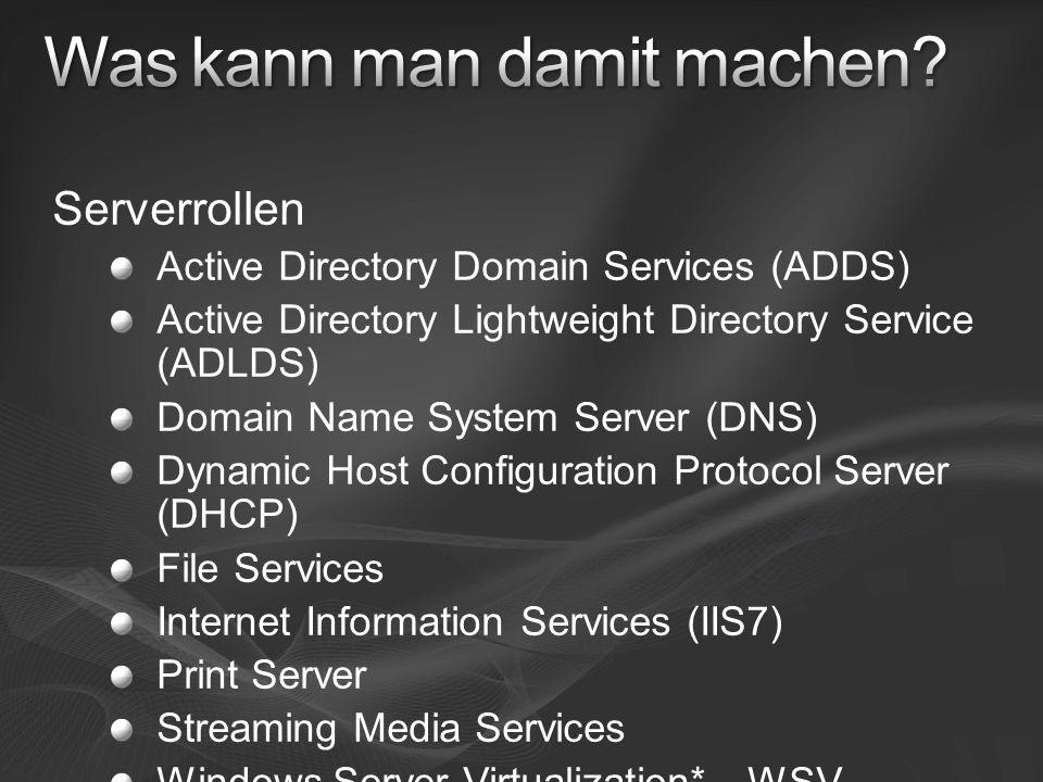 Optionale Komponenten & Features BitLocker Client For NFS DFS Server & Replication Failover Cluster FRS LPD Print Service MultipathIO Network Load Balancing Removable Storage Management Server For NFS SNMP Subsystem for UNIX- based Applications Telnet Client Windows Server Backup WINS