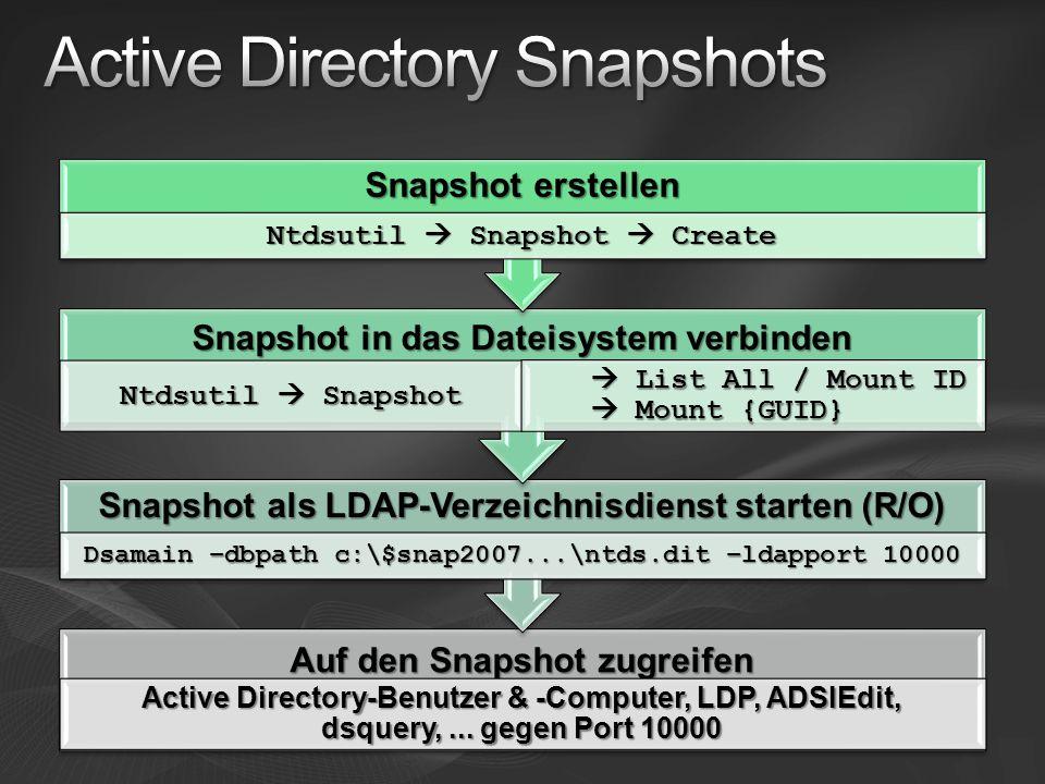 Auf den Snapshot zugreifen Active Directory-Benutzer & -Computer, LDP, ADSIEdit, dsquery,...