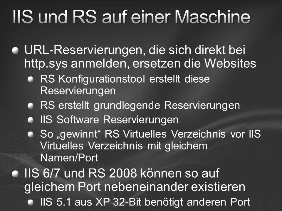 URL-Reservierungen, die sich direkt bei http.sys anmelden, ersetzen die Websites RS Konfigurationstool erstellt diese Reservierungen RS erstellt grund
