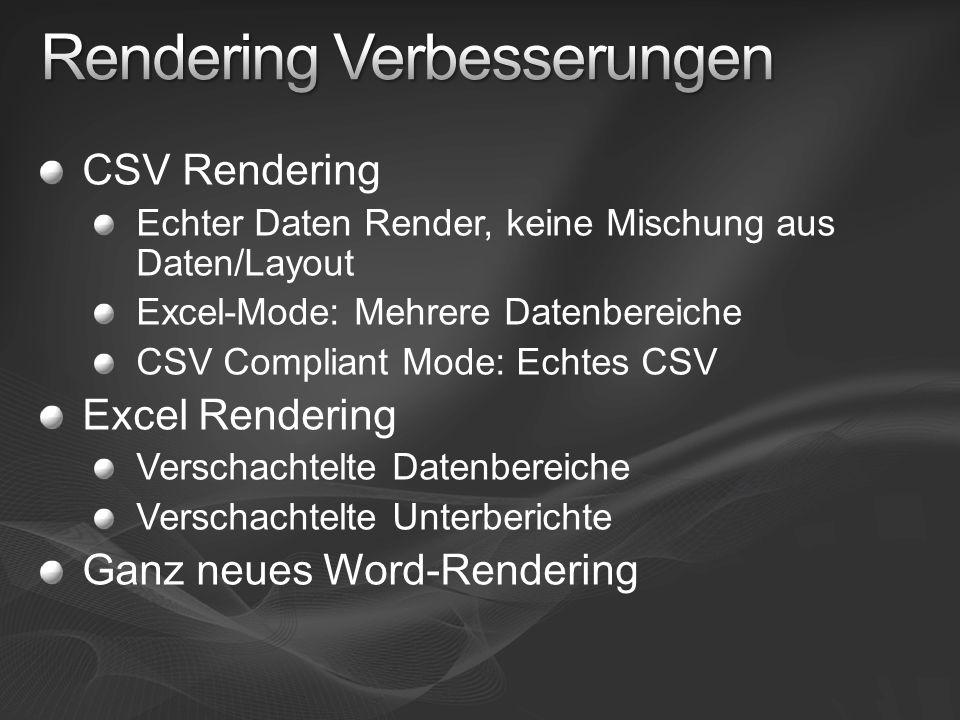 CSV Rendering Echter Daten Render, keine Mischung aus Daten/Layout Excel-Mode: Mehrere Datenbereiche CSV Compliant Mode: Echtes CSV Excel Rendering Ve