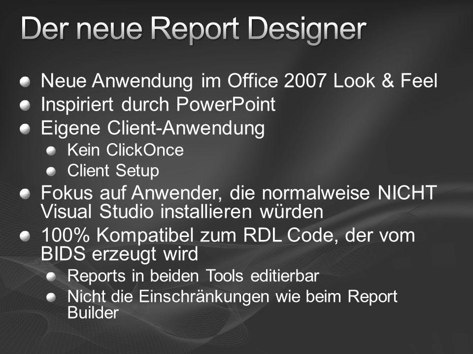Neue Anwendung im Office 2007 Look & Feel Inspiriert durch PowerPoint Eigene Client-Anwendung Kein ClickOnce Client Setup Fokus auf Anwender, die norm