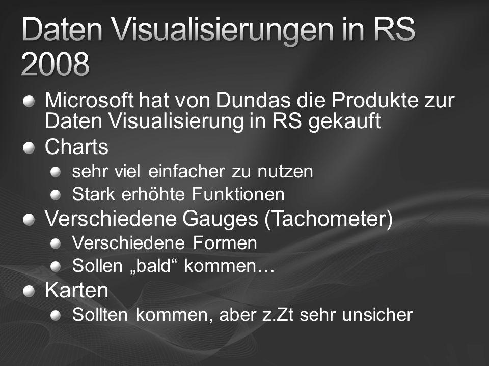 Microsoft hat von Dundas die Produkte zur Daten Visualisierung in RS gekauft Charts sehr viel einfacher zu nutzen Stark erhöhte Funktionen Verschieden