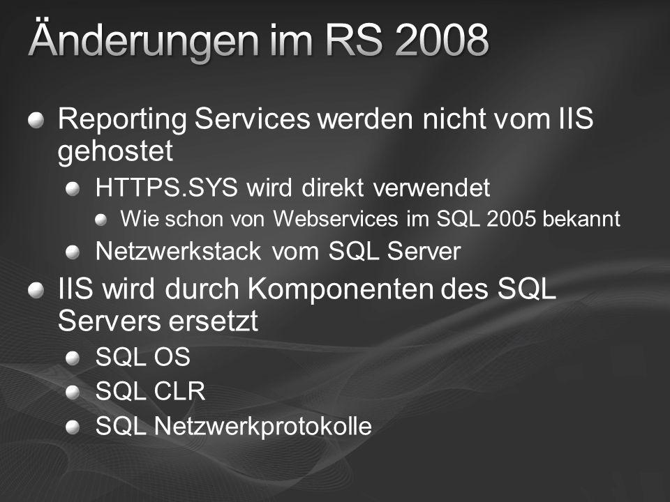 IIS ist ein sehr komplexes Produkt um alle Arten von Webseiten und –anwendungen zu hosten Einstellungen für andere Webanwendungen können RS beeinflussen Viele Einstellungen von IIS können RS beeinflussen SQL spezifische Anforderungen (Resource Governor etc.) sind schwierig zu implementieren Immer noch Vorbehalte gegen IIS Verhindert bei manchen Kunden Einsatz von RS