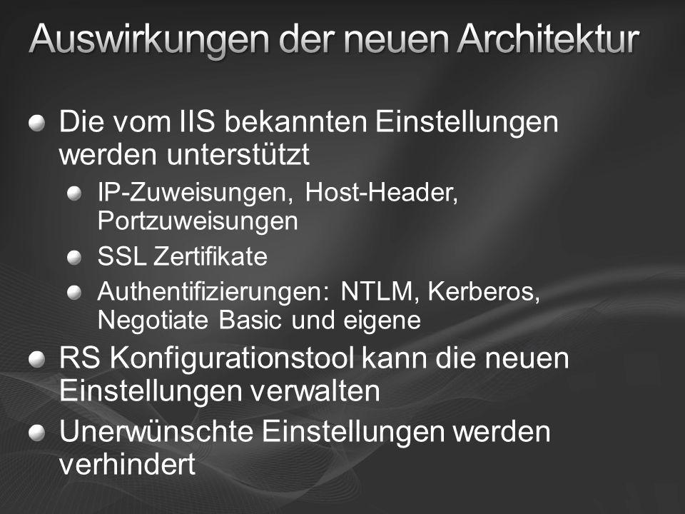 URL-Reservierungen, die sich direkt bei http.sys anmelden, ersetzen die Websites RS Konfigurationstool erstellt diese Reservierungen RS erstellt grundlegende Reservierungen IIS Software Reservierungen So gewinnt RS Virtuelles Verzeichnis vor IIS Virtuelles Verzeichnis mit gleichem Namen/Port IIS 6/7 und RS 2008 können so auf gleichem Port nebeneinander existieren IIS 5.1 aus XP 32-Bit benötigt anderen Port