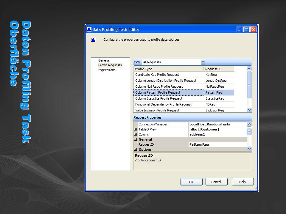 Daten Profiling Task Oberfläche