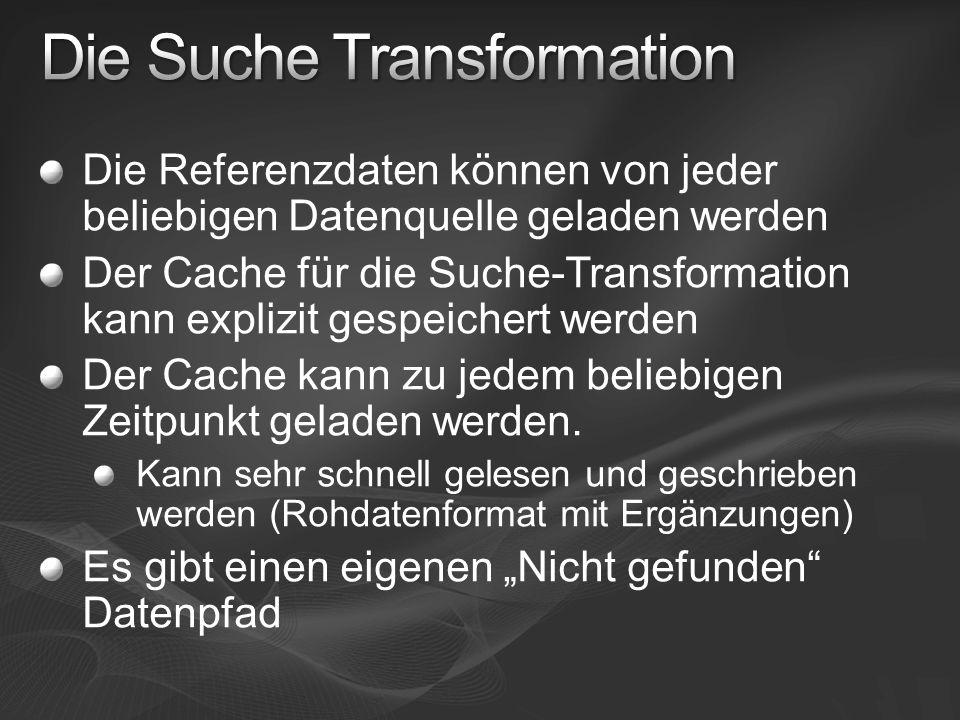 Die Referenzdaten können von jeder beliebigen Datenquelle geladen werden Der Cache für die Suche-Transformation kann explizit gespeichert werden Der C