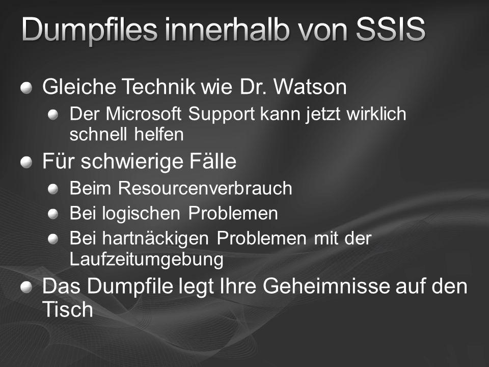 Gleiche Technik wie Dr. Watson Der Microsoft Support kann jetzt wirklich schnell helfen Für schwierige Fälle Beim Resourcenverbrauch Bei logischen Pro