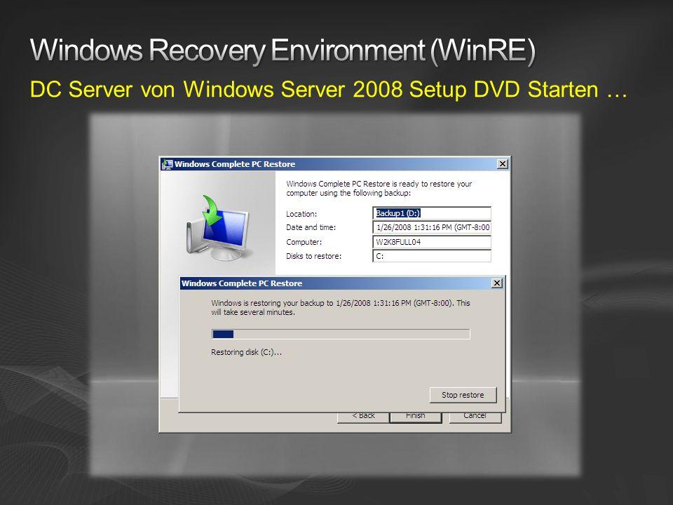 DC Server von Windows Server 2008 Setup DVD Starten …