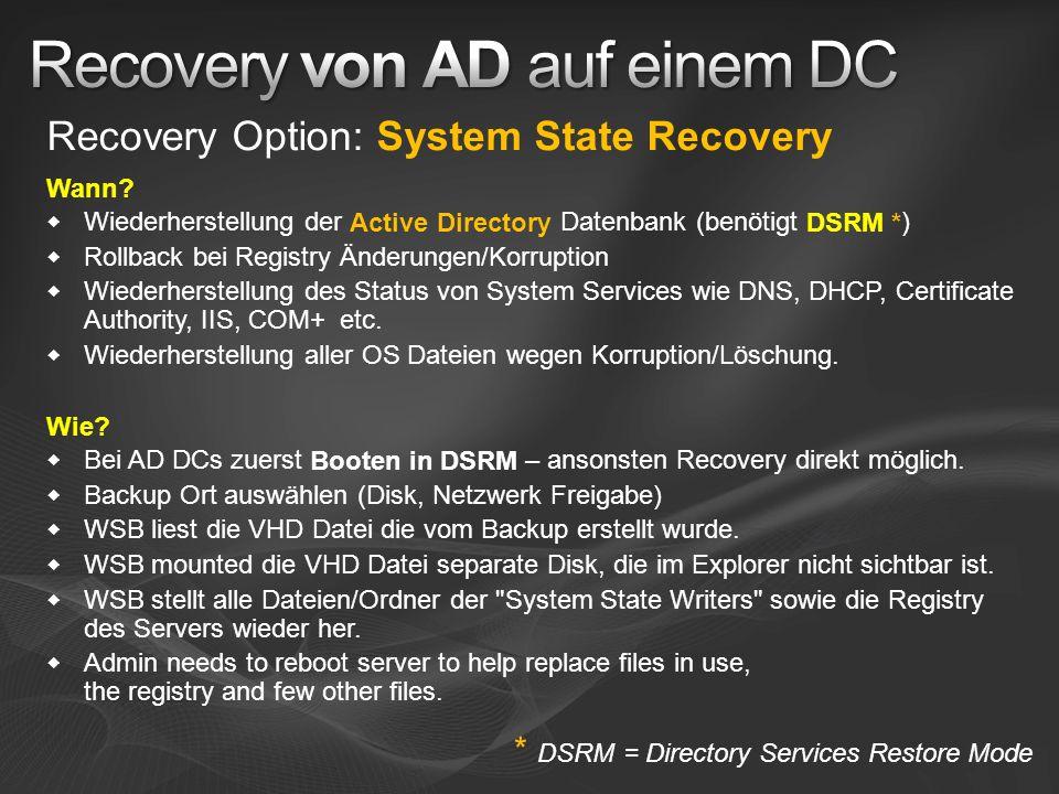 Recovery Option: System State Recovery Wann? Wiederherstellung der Active Directory Datenbank (benötigt DSRM *) Rollback bei Registry Änderungen/Korru