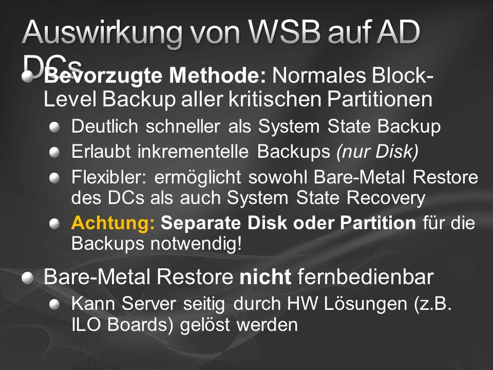 Bevorzugte Methode: Normales Block- Level Backup aller kritischen Partitionen Deutlich schneller als System State Backup Erlaubt inkrementelle Backups