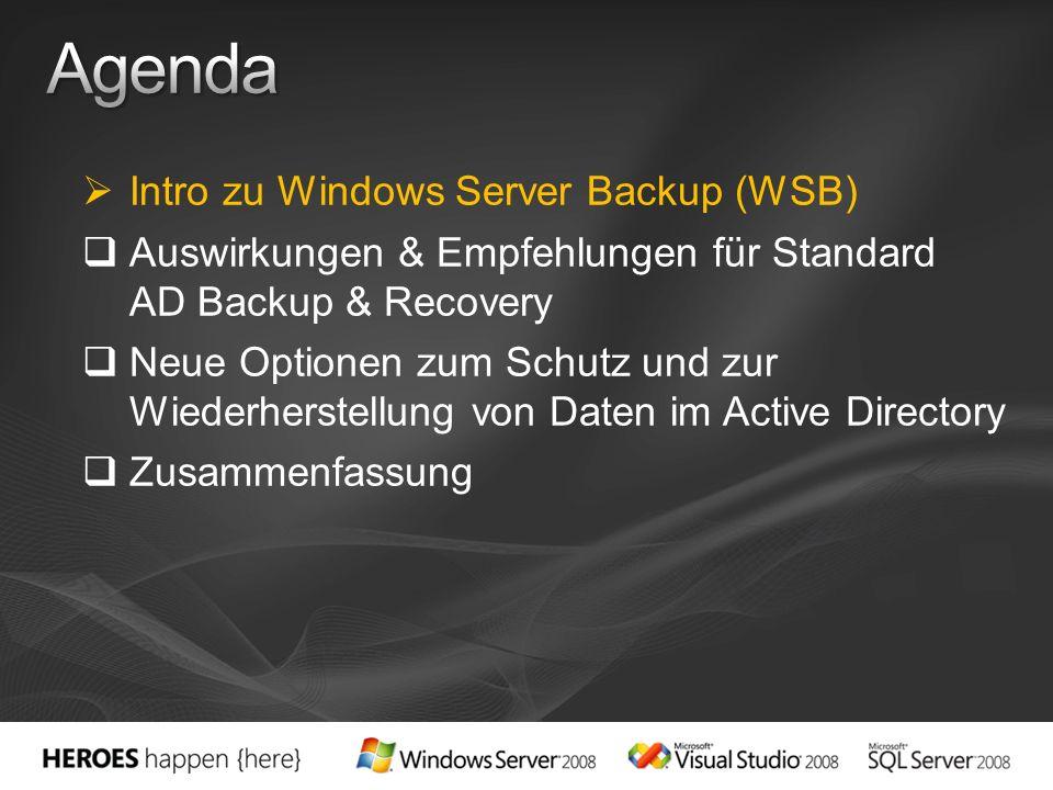 Intro zu Windows Server Backup (WSB) Auswirkungen & Empfehlungen für Standard AD Backup & Recovery Neue Optionen zum Schutz und zur Wiederherstellung