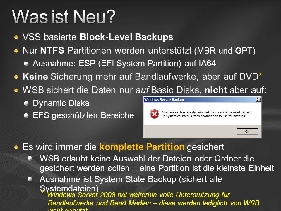 VSS basierte Block-Level Backups Nur NTFS Partitionen werden unterstützt (MBR und GPT) Ausnahme: ESP (EFI System Partition) auf IA64 Keine Sicherung m