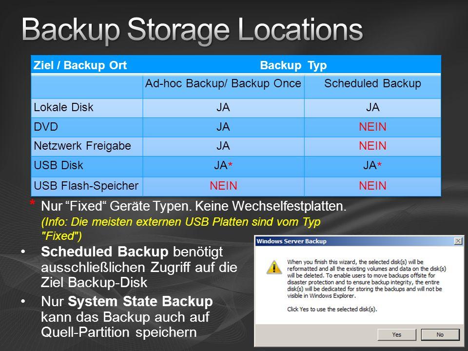 Scheduled Backup benötigt ausschließlichen Zugriff auf die Ziel Backup-Disk Nur System State Backup kann das Backup auch auf Quell-Partition speichern