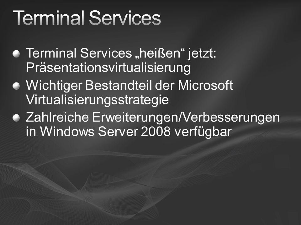 TS Easy Print und das Drucken in Terminal Server-Umgebungen mit Windows Server 2008 http://blogs.technet.com/dmelanchthon/archi ve/2008/02/03/ts-easy-print-und-das- drucken-in-terminal-server-umgebungen- mit-windows-server-2008.aspx http://blogs.technet.com/dmelanchthon/archi ve/2008/02/03/ts-easy-print-und-das- drucken-in-terminal-server-umgebungen- mit-windows-server-2008.aspx Bandbreitenmanagement für RDP- Verbindungen http://blogs.msdn.com/ts/archive/2007/04/09 /bandwidth-allocation-for-terminal-server- connections-over-rdp.aspx http://blogs.msdn.com/ts/archive/2007/04/09 /bandwidth-allocation-for-terminal-server- connections-over-rdp.aspx