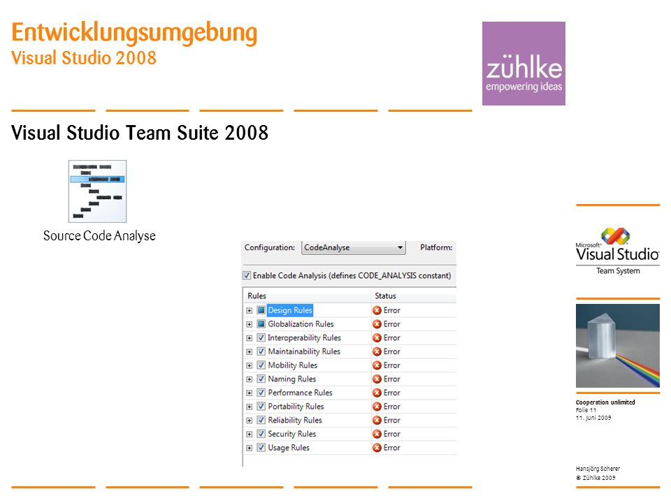 Cooperation unlimited © Zühlke 2009 Entwicklungsumgebung Visual Studio 2008 Visual Studio Team Suite 2008 11. Juni 2009 Hansjörg Scherer Folie 11 Sour