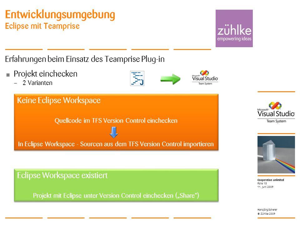 Cooperation unlimited © Zühlke 2009 Entwicklungsumgebung Eclipse mit Teamprise Erfahrungen beim Einsatz des Teamprise Plug-in Projekt einchecken – 2 Varianten 11.