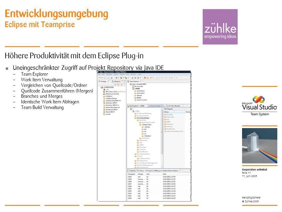 Cooperation unlimited © Zühlke 2009 Entwicklungsumgebung Eclipse mit Teamprise Höhere Produktivität mit dem Eclipse Plug-in Uneingeschränkter Zugriff