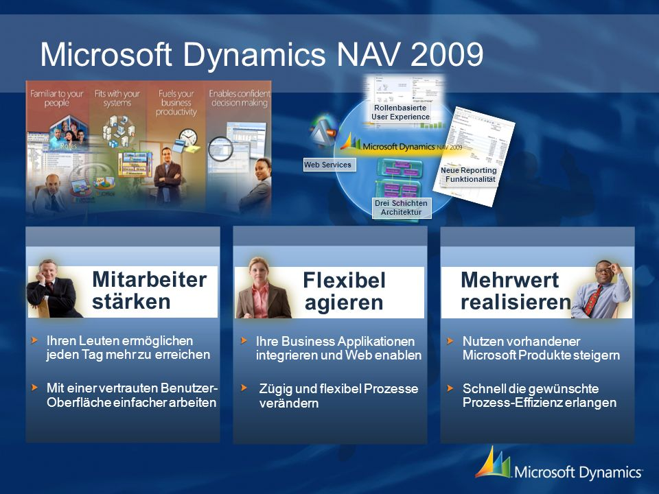 Kunden und Partner Feedback The Role Centers in Microsoft Dynamics NAV 2009 will be a huge boost for our end users who will have direct access to the information they need to do their daily tasks.