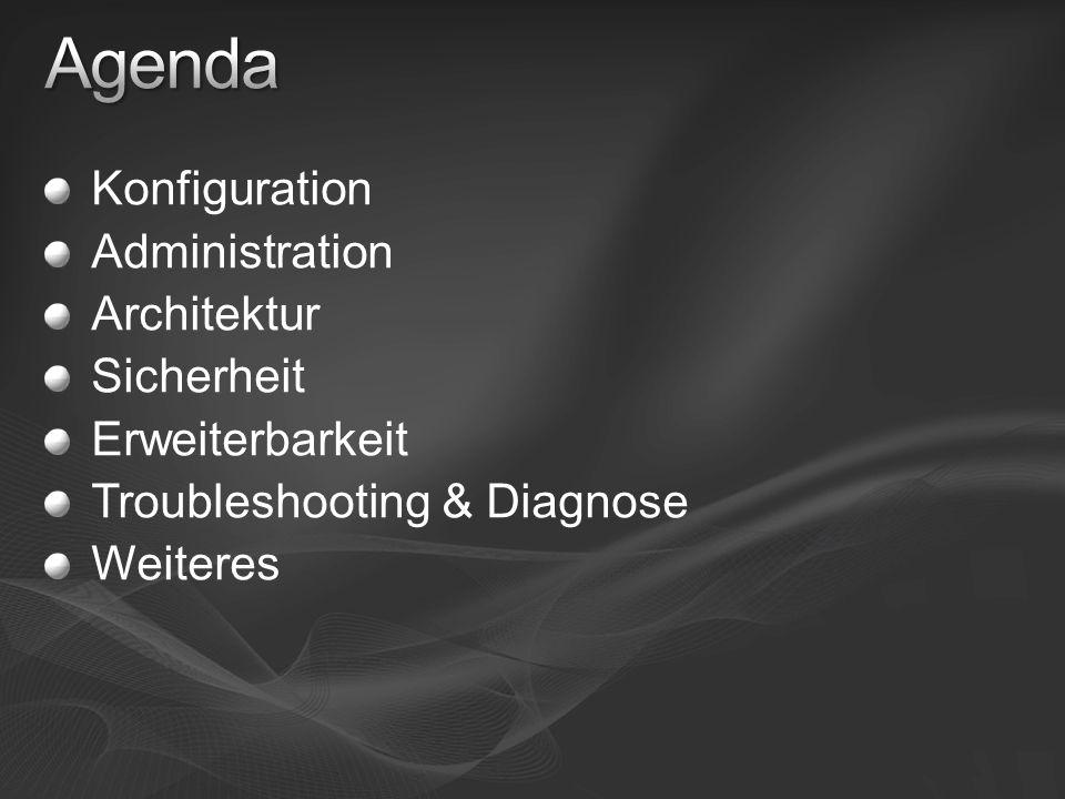 Konfiguration Administration Architektur Sicherheit Erweiterbarkeit Troubleshooting & Diagnose Weiteres