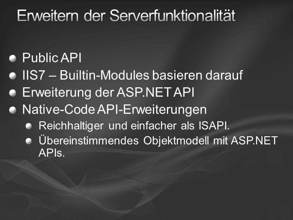 Public API IIS7 – Builtin-Modules basieren darauf Erweiterung der ASP.NET API Native-Code API-Erweiterungen Reichhaltiger und einfacher als ISAPI.