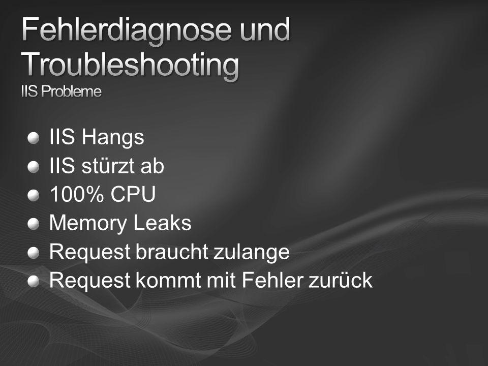 IIS Hangs IIS stürzt ab 100% CPU Memory Leaks Request braucht zulange Request kommt mit Fehler zurück